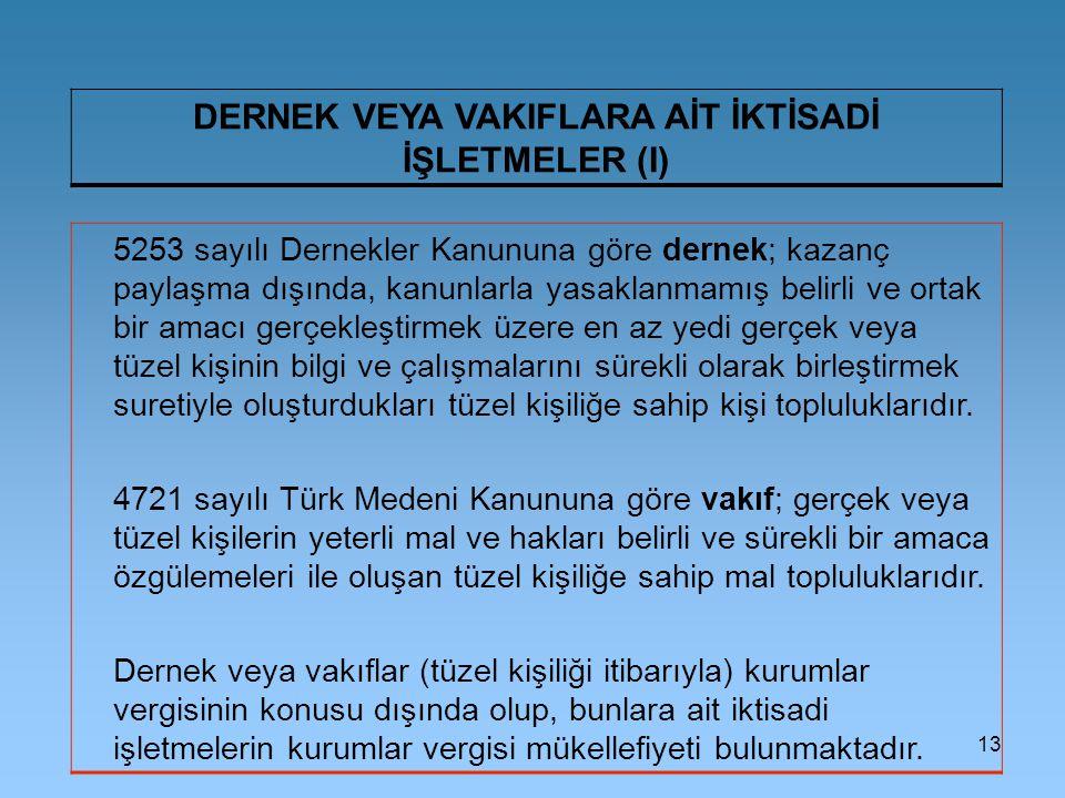 13 DERNEK VEYA VAKIFLARA AİT İKTİSADİ İŞLETMELER (I) 5253 sayılı Dernekler Kanununa göre dernek; kazanç paylaşma dışında, kanunlarla yasaklanmamış bel