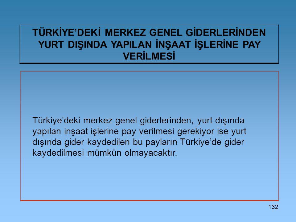 132 TÜRKİYE'DEKİ MERKEZ GENEL GİDERLERİNDEN YURT DIŞINDA YAPILAN İNŞAAT İŞLERİNE PAY VERİLMESİ Türkiye'deki merkez genel giderlerinden, yurt dışında yapılan inşaat işlerine pay verilmesi gerekiyor ise yurt dışında gider kaydedilen bu payların Türkiye'de gider kaydedilmesi mümkün olmayacaktır.