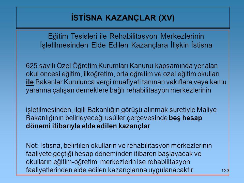 133 İSTİSNA KAZANÇLAR (XV) Eğitim Tesisleri ile Rehabilitasyon Merkezlerinin İşletilmesinden Elde Edilen Kazançlara İlişkin İstisna 625 sayılı Özel Öğ