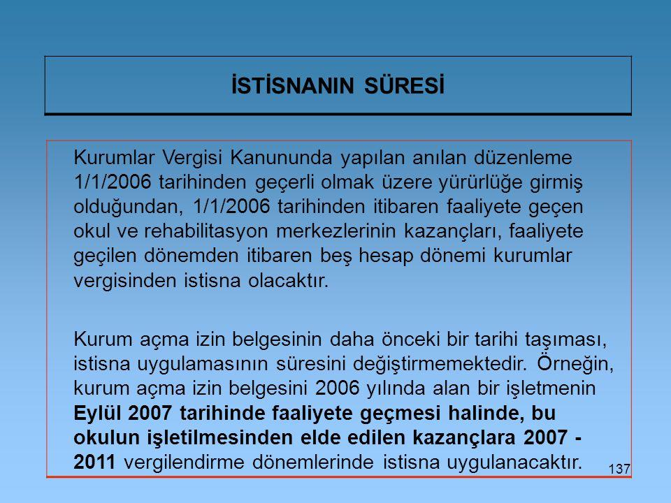 137 İSTİSNANIN SÜRESİ Kurumlar Vergisi Kanununda yapılan anılan düzenleme 1/1/2006 tarihinden geçerli olmak üzere yürürlüğe girmiş olduğundan, 1/1/200