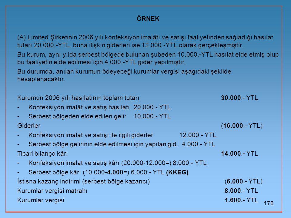 176 ÖRNEK (A) Limited Şirketinin 2006 yılı konfeksiyon imalâtı ve satışı faaliyetinden sağladığı hasılat tutarı 20.000.-YTL, buna ilişkin giderleri is