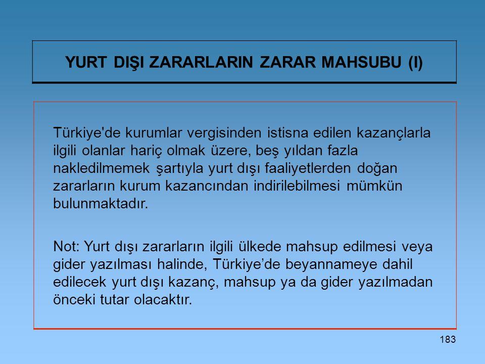 183 YURT DIŞI ZARARLARIN ZARAR MAHSUBU (I) Türkiye'de kurumlar vergisinden istisna edilen kazançlarla ilgili olanlar hariç olmak üzere, beş yıldan faz