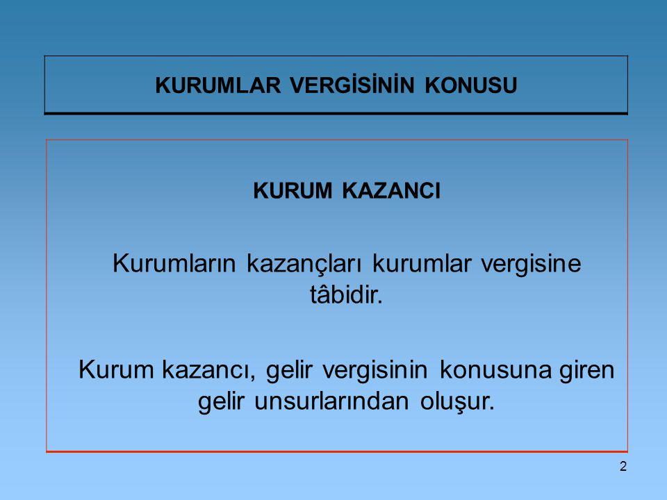 2 KURUMLAR VERGİSİNİN KONUSU KURUM KAZANCI Kurumların kazançları kurumlar vergisine tâbidir.