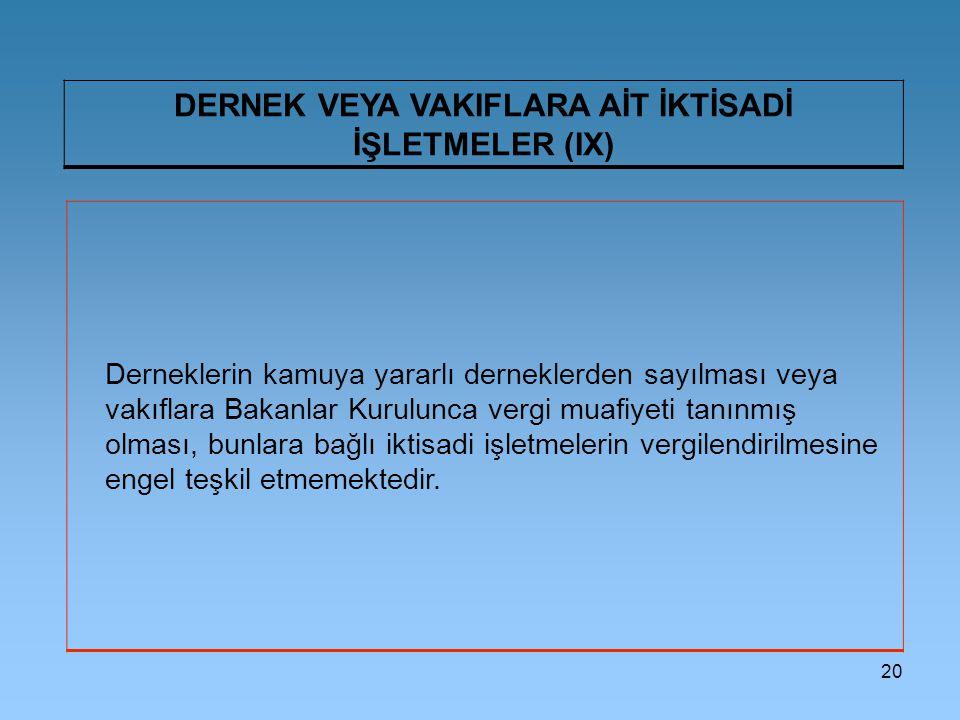20 DERNEK VEYA VAKIFLARA AİT İKTİSADİ İŞLETMELER (IX) Derneklerin kamuya yararlı derneklerden sayılması veya vakıflara Bakanlar Kurulunca vergi muafiy