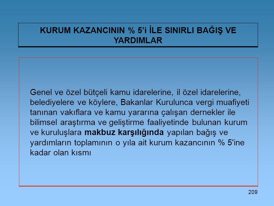 209 KURUM KAZANCININ % 5'i İLE SINIRLI BAĞIŞ VE YARDIMLAR Genel ve özel bütçeli kamu idarelerine, il özel idarelerine, belediyelere ve köylere, Bakanl