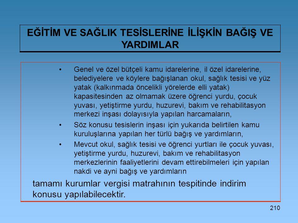 210 EĞİTİM VE SAĞLIK TESİSLERİNE İLİŞKİN BAĞIŞ VE YARDIMLAR Genel ve özel bütçeli kamu idarelerine, il özel idarelerine, belediyelere ve köylere bağış