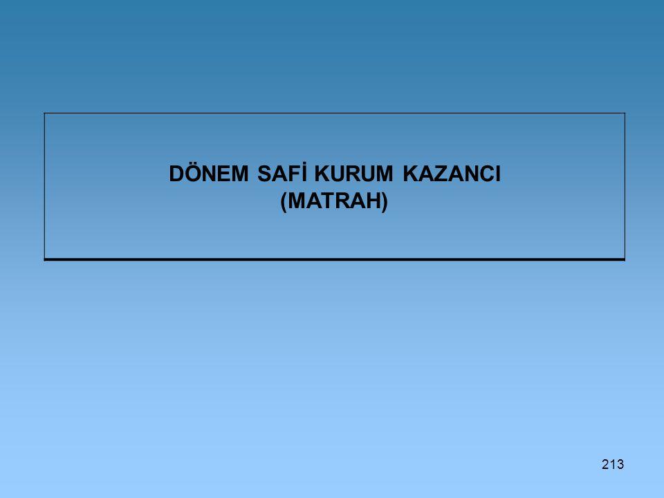 213 DÖNEM SAFİ KURUM KAZANCI (MATRAH)