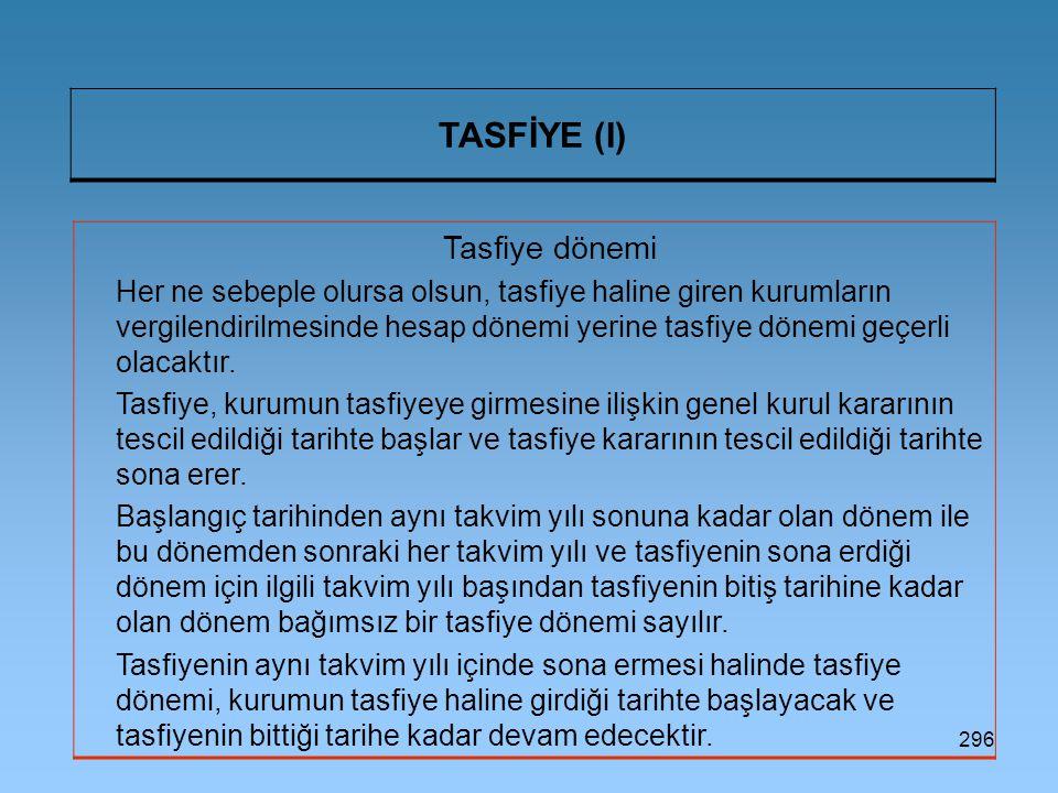 296 TASFİYE (I) Tasfiye dönemi Her ne sebeple olursa olsun, tasfiye haline giren kurumların vergilendirilmesinde hesap dönemi yerine tasfiye dönemi geçerli olacaktır.