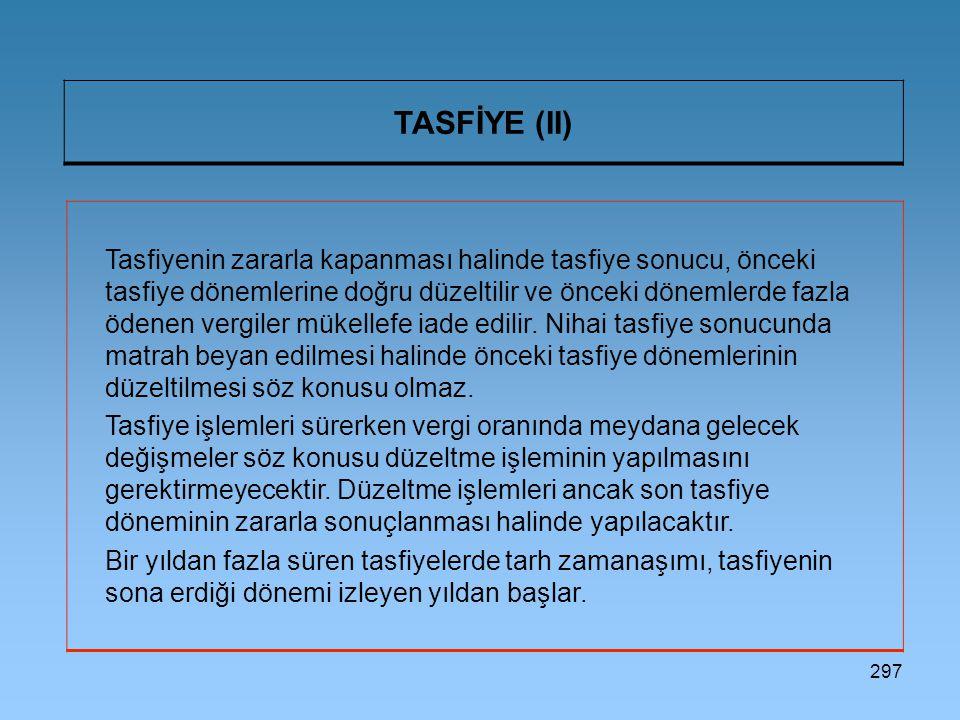 297 TASFİYE (II) Tasfiyenin zararla kapanması halinde tasfiye sonucu, önceki tasfiye dönemlerine doğru düzeltilir ve önceki dönemlerde fazla ödenen vergiler mükellefe iade edilir.