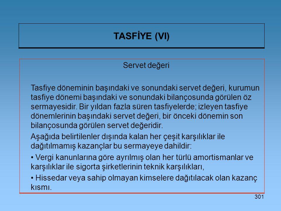 301 TASFİYE (VI) Servet değeri Tasfiye döneminin başındaki ve sonundaki servet değeri, kurumun tasfiye dönemi başındaki ve sonundaki bilançosunda görülen öz sermayesidir.
