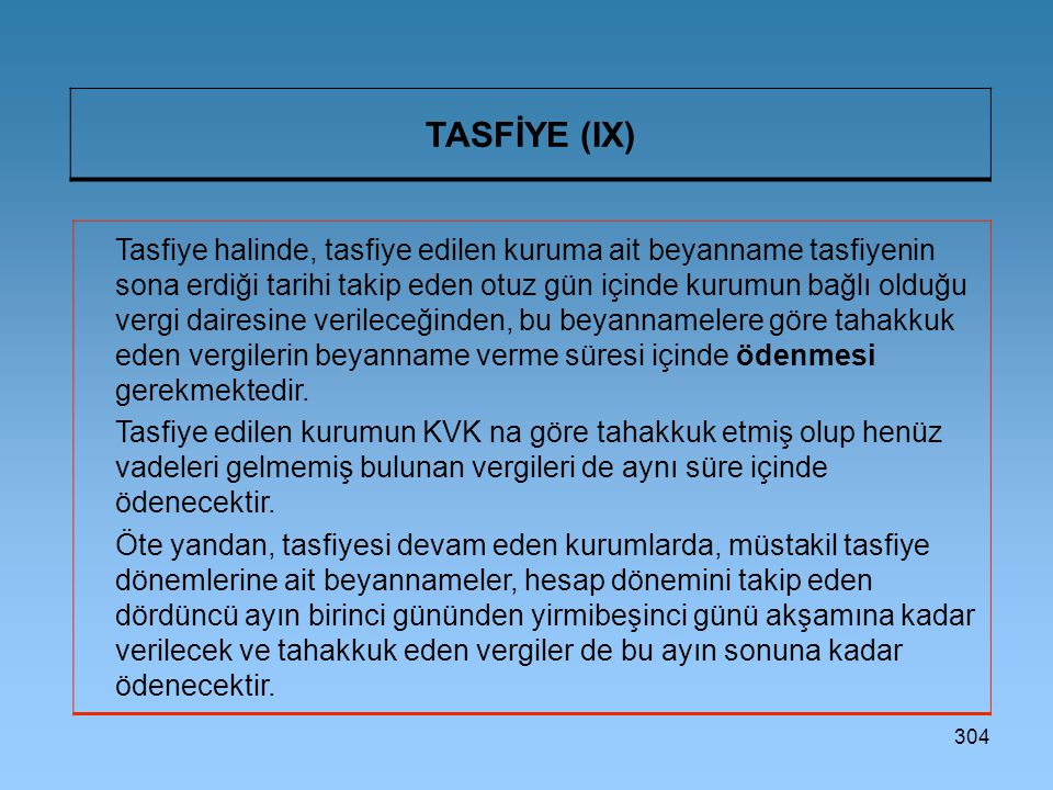 304 TASFİYE (IX) Tasfiye halinde, tasfiye edilen kuruma ait beyanname tasfiyenin sona erdiği tarihi takip eden otuz gün içinde kurumun bağlı olduğu ve