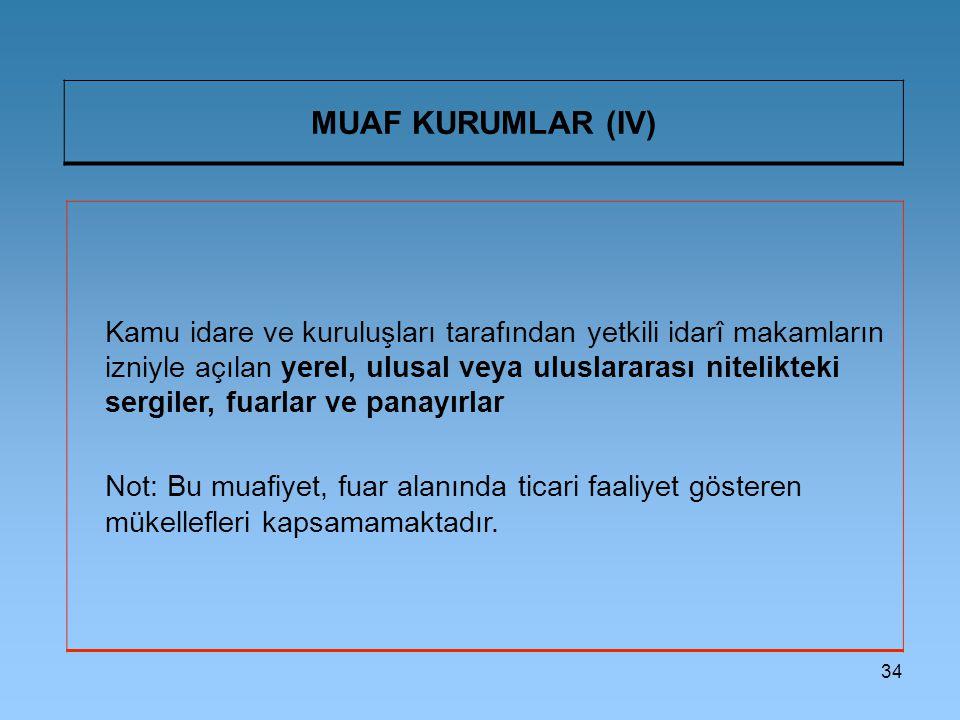 34 MUAF KURUMLAR (IV) Kamu idare ve kuruluşları tarafından yetkili idarî makamların izniyle açılan yerel, ulusal veya uluslararası nitelikteki sergile