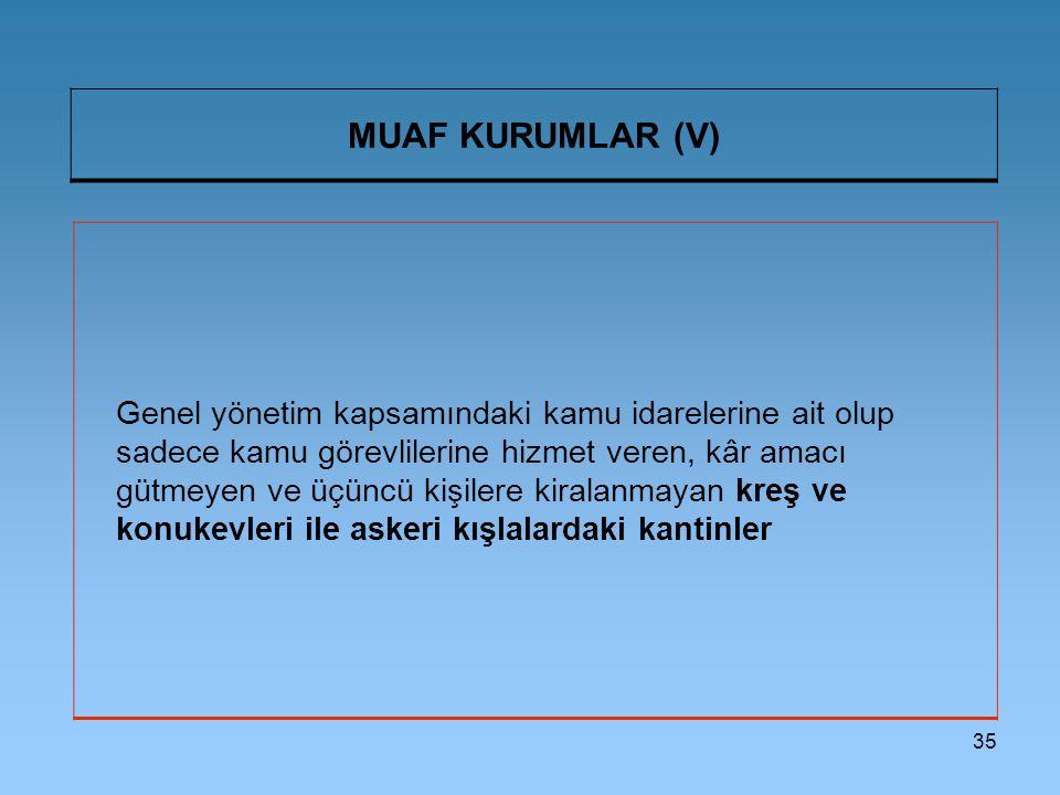 35 MUAF KURUMLAR (V) Genel yönetim kapsamındaki kamu idarelerine ait olup sadece kamu görevlilerine hizmet veren, kâr amacı gütmeyen ve üçüncü kişilere kiralanmayan kreş ve konukevleri ile askeri kışlalardaki kantinler