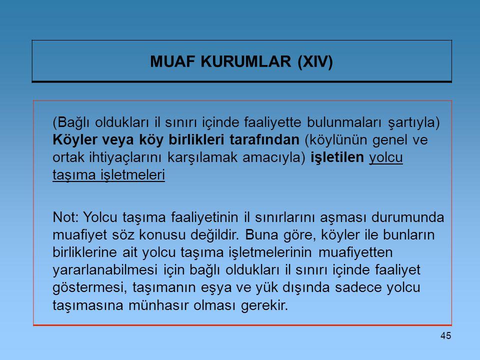 45 MUAF KURUMLAR (XIV) (Bağlı oldukları il sınırı içinde faaliyette bulunmaları şartıyla) Köyler veya köy birlikleri tarafından (köylünün genel ve ort