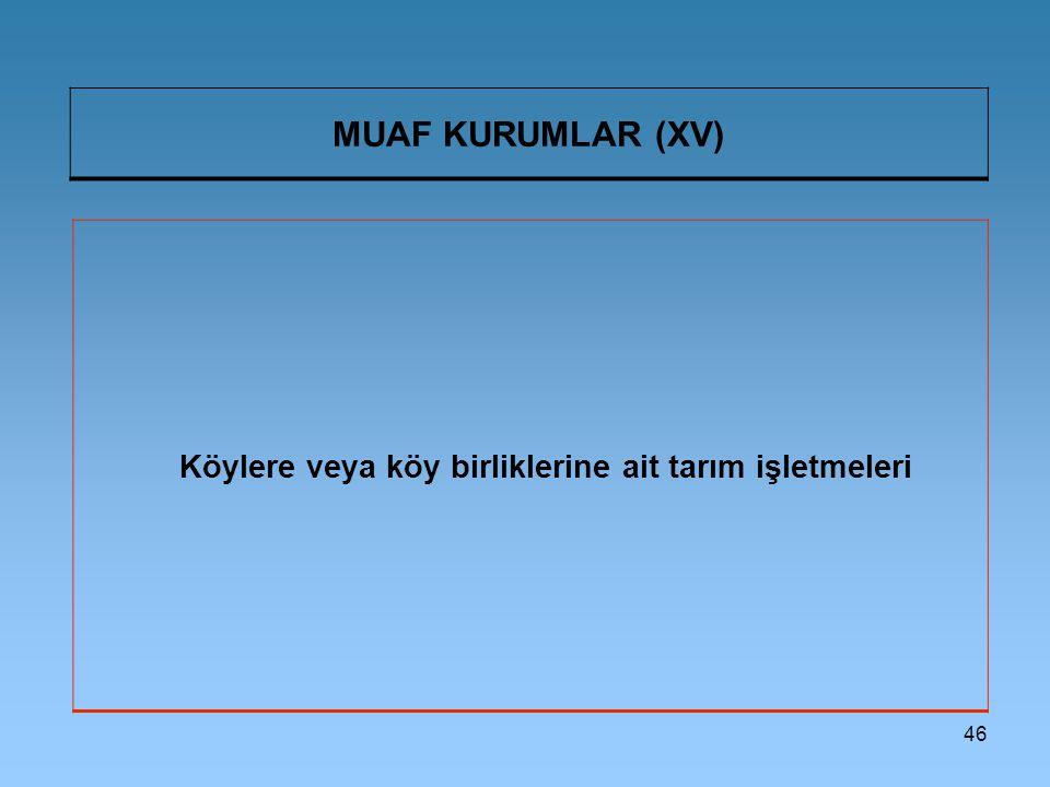 46 MUAF KURUMLAR (XV) Köylere veya köy birliklerine ait tarım işletmeleri