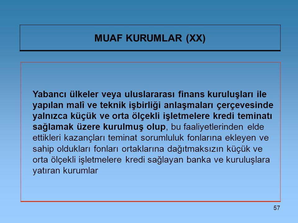 57 MUAF KURUMLAR (XX) Yabancı ülkeler veya uluslararası finans kuruluşları ile yapılan malî ve teknik işbirliği anlaşmaları çerçevesinde yalnızca küçü