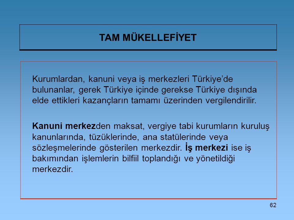 62 TAM MÜKELLEFİYET Kurumlardan, kanuni veya iş merkezleri Türkiye'de bulunanlar, gerek Türkiye içinde gerekse Türkiye dışında elde ettikleri kazançla