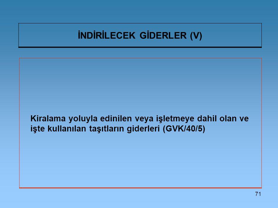 71 İNDİRİLECEK GİDERLER (V) Kiralama yoluyla edinilen veya işletmeye dahil olan ve işte kullanılan taşıtların giderleri (GVK/40/5)