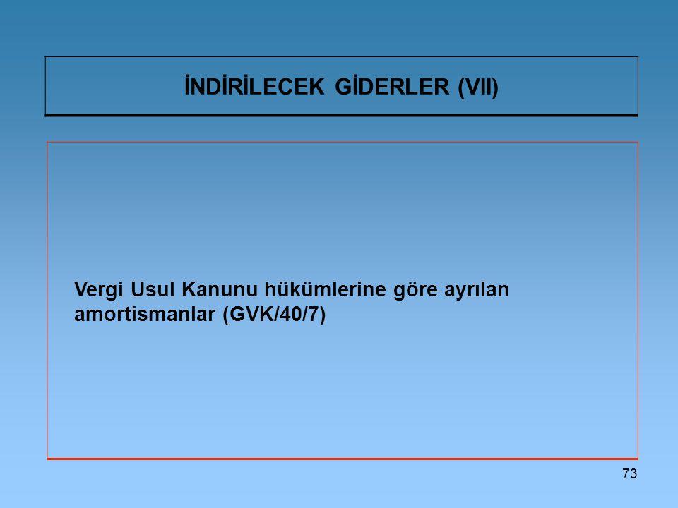 73 İNDİRİLECEK GİDERLER (VII) Vergi Usul Kanunu hükümlerine göre ayrılan amortismanlar (GVK/40/7)