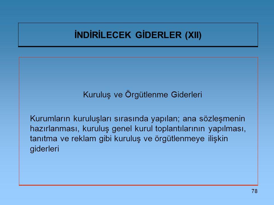 78 İNDİRİLECEK GİDERLER (XII) Kuruluş ve Örgütlenme Giderleri Kurumların kuruluşları sırasında yapılan; ana sözleşmenin hazırlanması, kuruluş genel ku