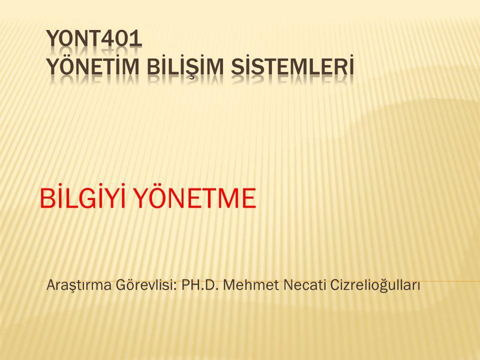 BİLGİYİ YÖNETME Araştırma Görevlisi: PH.D. Mehmet Necati Cizrelioğulları