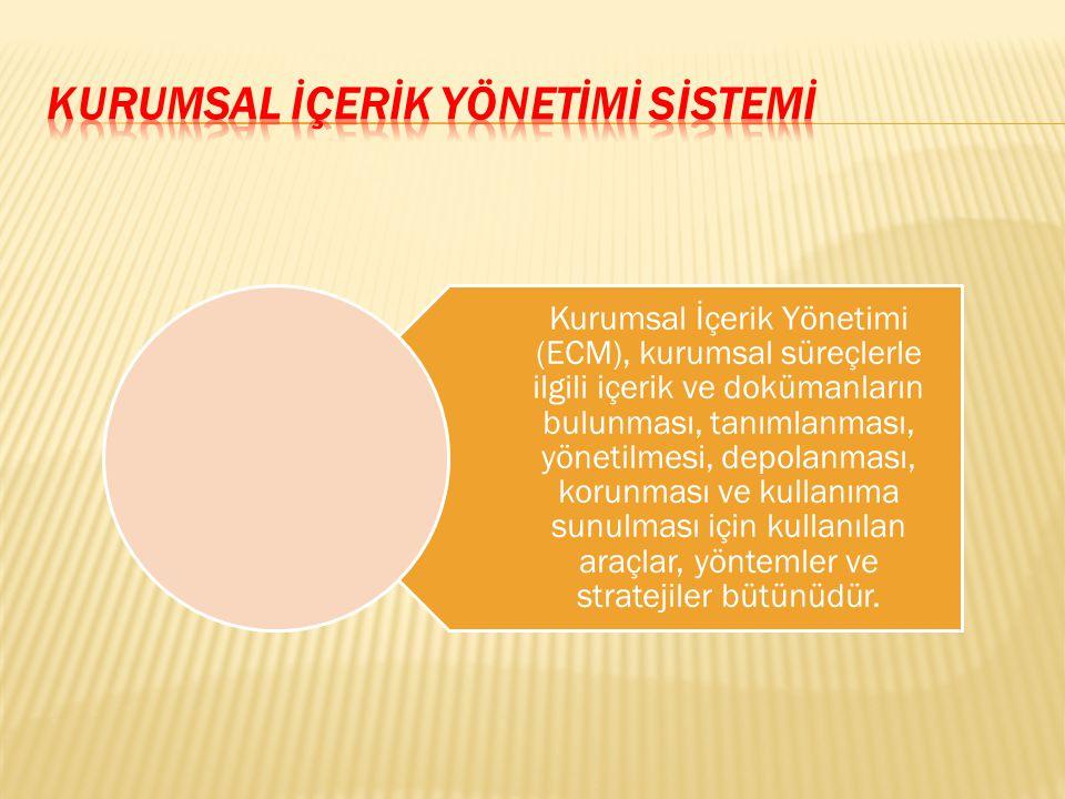 Kurumsal İçerik Yönetimi (ECM), kurumsal süreçlerle ilgili içerik ve dokümanların bulunması, tanımlanması, yönetilmesi, depolanması, korunması ve kull