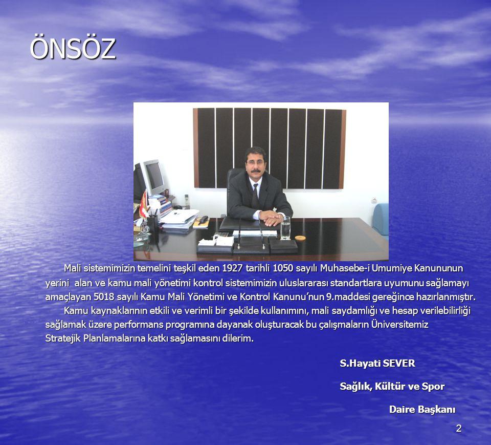 3 İÇİNDEKİLER ÖNSÖZ 1.GENEL BİLGİLER Sayfa No 1.1.