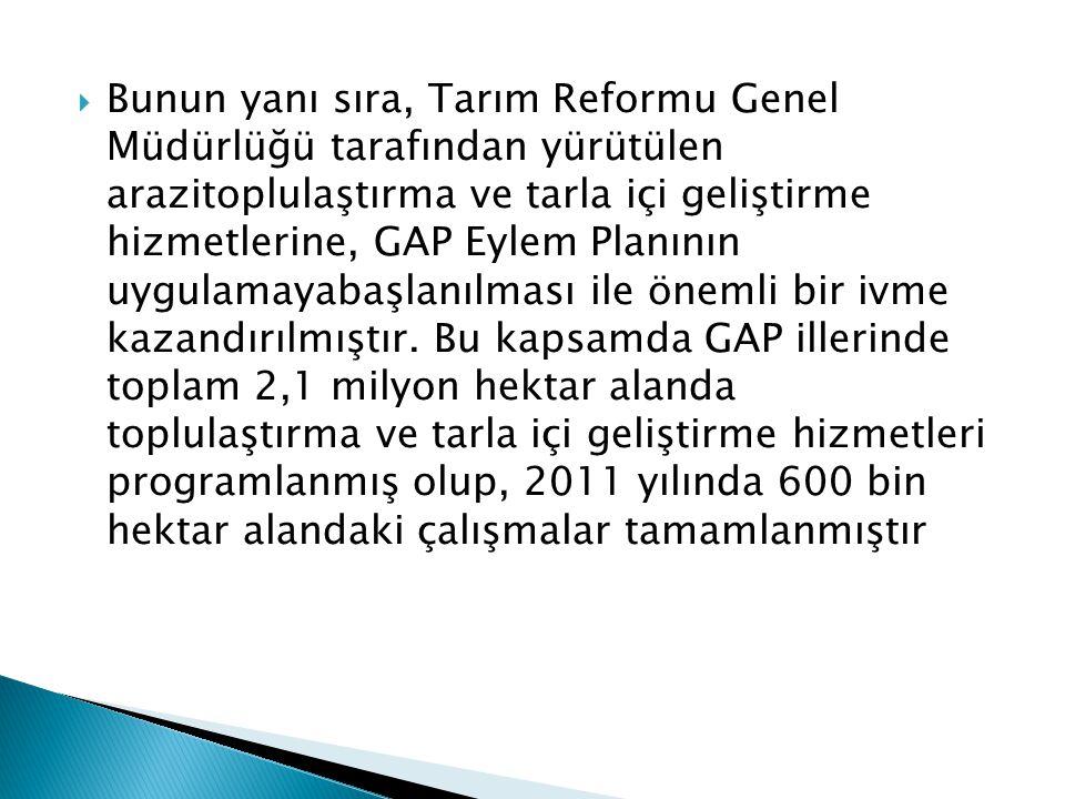  Bunun yanı sıra, Tarım Reformu Genel Müdürlüğü tarafından yürütülen arazitoplulaştırma ve tarla içi geliştirme hizmetlerine, GAP Eylem Planının uygu