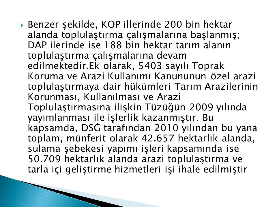  Benzer şekilde, KOP illerinde 200 bin hektar alanda toplulaştırma çalışmalarına başlanmış; DAP ilerinde ise 188 bin hektar tarım alanın toplulaştırm