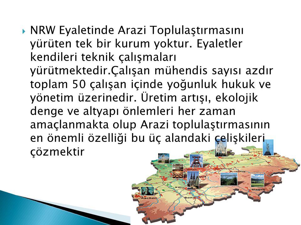  NRW Eyaletinde Arazi Toplulaştırmasını yürüten tek bir kurum yoktur. Eyaletler kendileri teknik çalışmaları yürütmektedir.Çalışan mühendis sayısı az