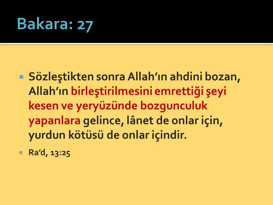  Sözleştikten sonra Allah'ın ahdini bozan, Allah'ın birleştirilmesini emrettiği şeyi kesen ve yeryüzünde bozgunculuk yapanlara gelince, lânet de onla