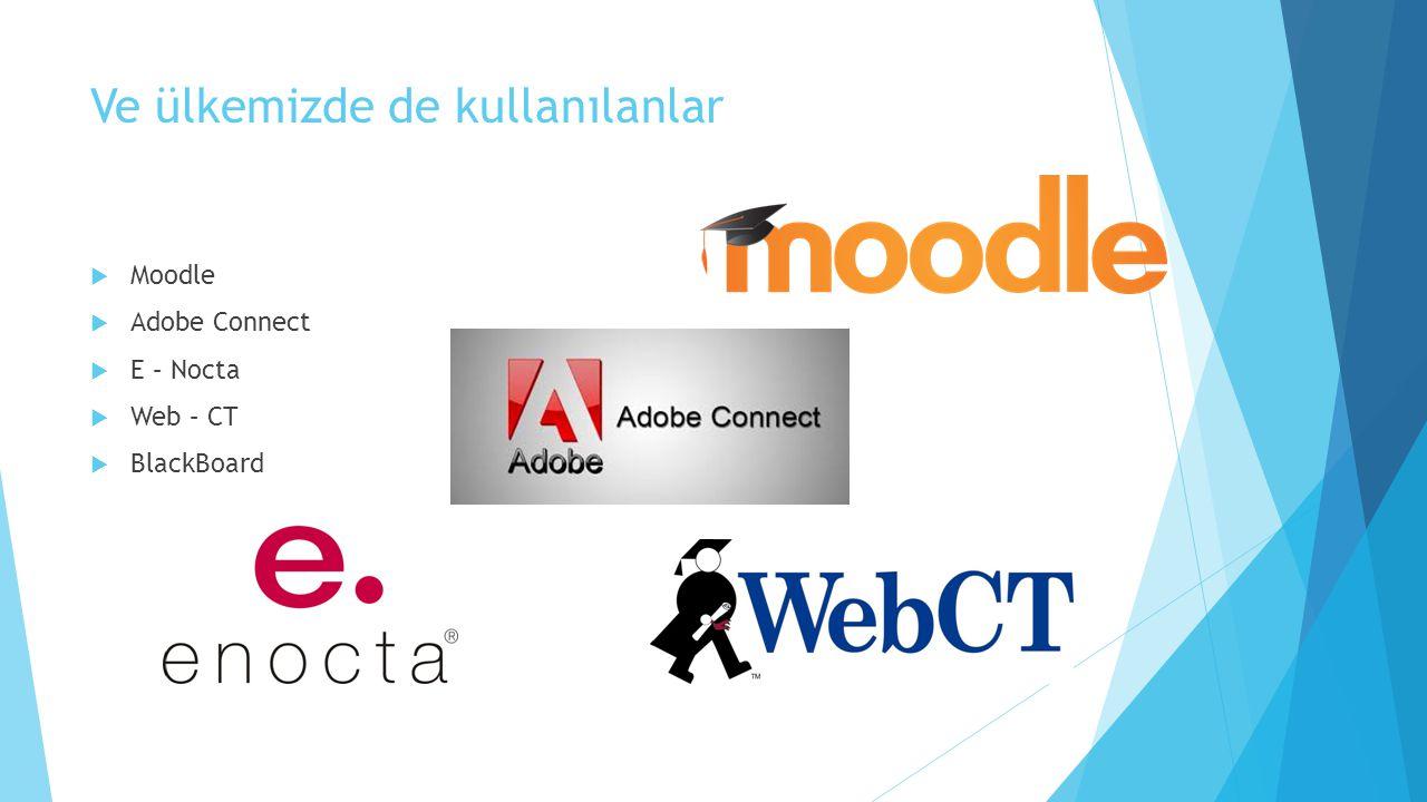 Ve ülkemizde de kullanılanlar  Moodle  Adobe Connect  E – Nocta  Web – CT  BlackBoard