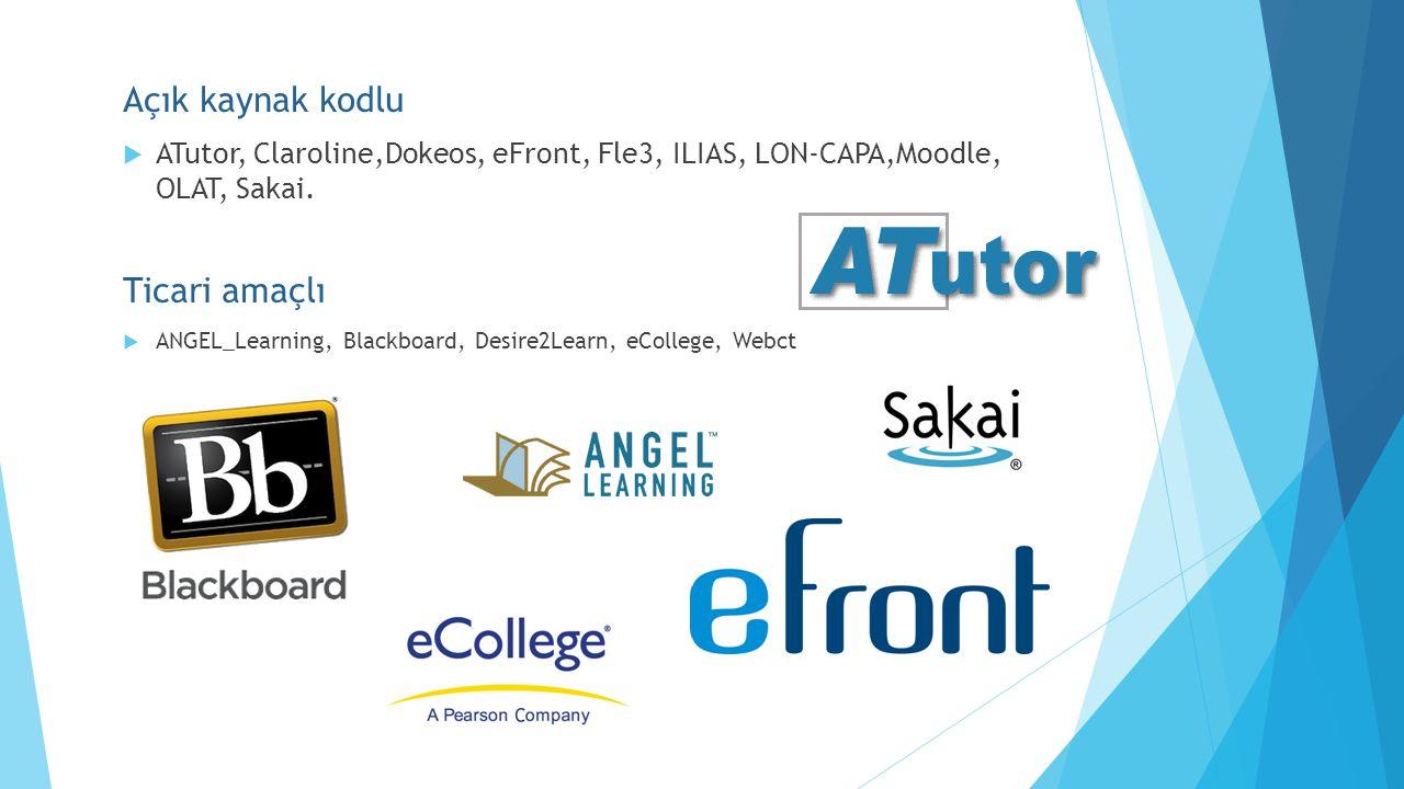 Açık kaynak kodlu  ATutor, Claroline,Dokeos, eFront, Fle3, ILIAS, LON-CAPA,Moodle, OLAT, Sakai. Ticari amaçlı  ANGEL_Learning, Blackboard, Desire2Le
