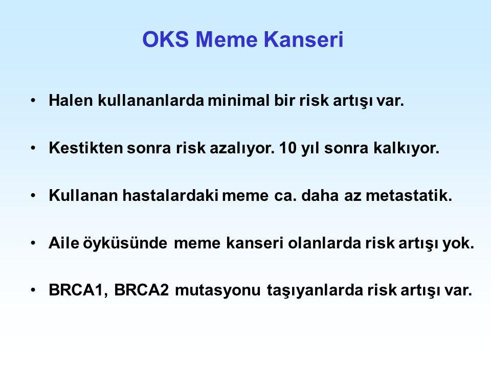 OKS Meme Kanseri Halen kullananlarda minimal bir risk artışı var. Kestikten sonra risk azalıyor. 10 yıl sonra kalkıyor. Kullanan hastalardaki meme ca.