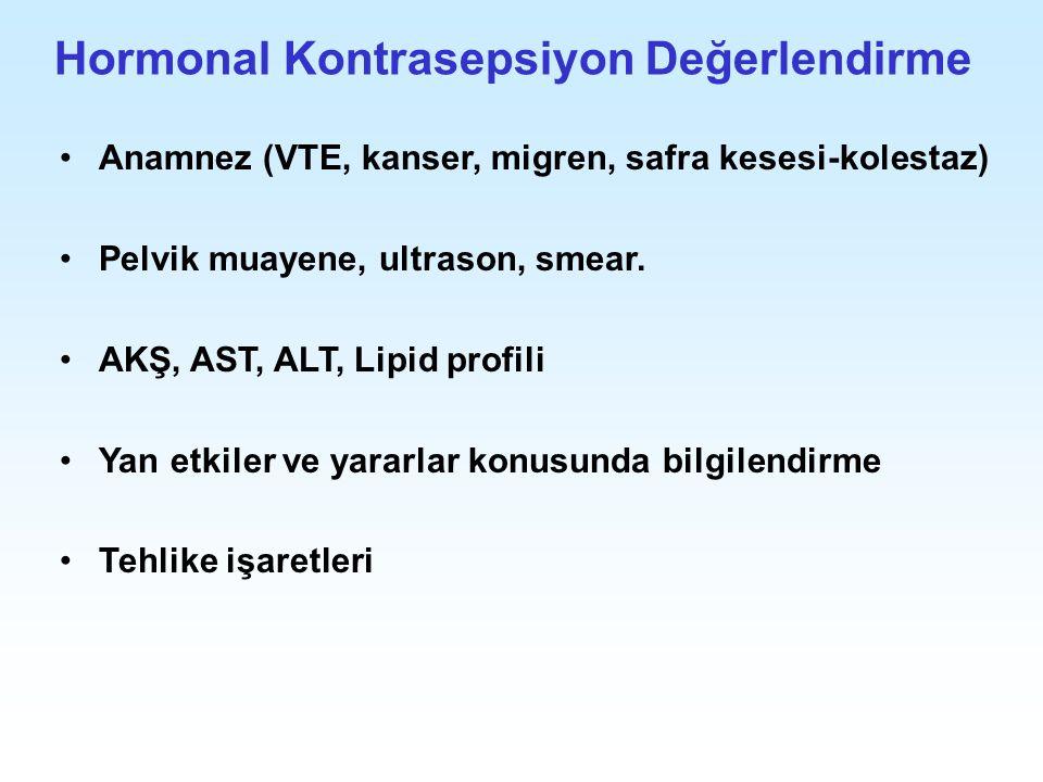 Hormonal Kontrasepsiyon Değerlendirme Anamnez (VTE, kanser, migren, safra kesesi-kolestaz) Pelvik muayene, ultrason, smear. AKŞ, AST, ALT, Lipid profi