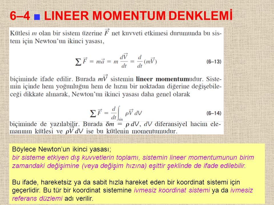 12 6–4 ■ LINEER MOMENTUM DENKLEMİ Böylece Newton'un ikinci yasası; bir sisteme etkiyen dış kuvvetlerin toplamı, sistemin lineer momentumunun birim zam