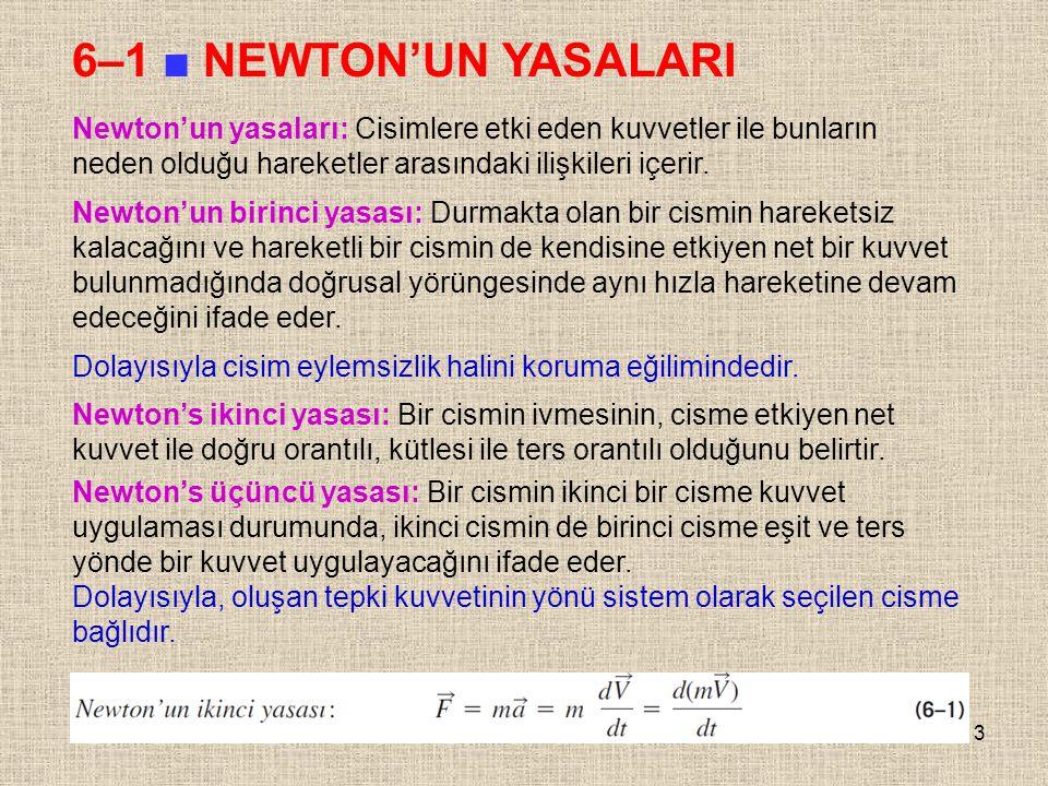 3 6–1 ■ NEWTON'UN YASALARI Newton'un yasaları: Cisimlere etki eden kuvvetler ile bunların neden olduğu hareketler arasındaki ilişkileri içerir. Newton