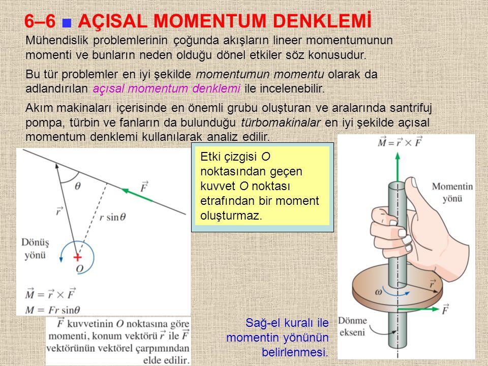 37 6–6 ■ AÇISAL MOMENTUM DENKLEMİ Mühendislik problemlerinin çoğunda akışların lineer momentumunun momenti ve bunların neden olduğu dönel etkiler söz