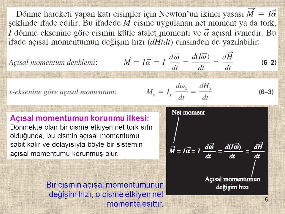 5 Bir cismin açısal momentumunun değişim hızı, o cisme etkiyen net momente eşittir. Açısal momentumun korunmu ilkesi: Dönmekte olan bir cisme etkiyen