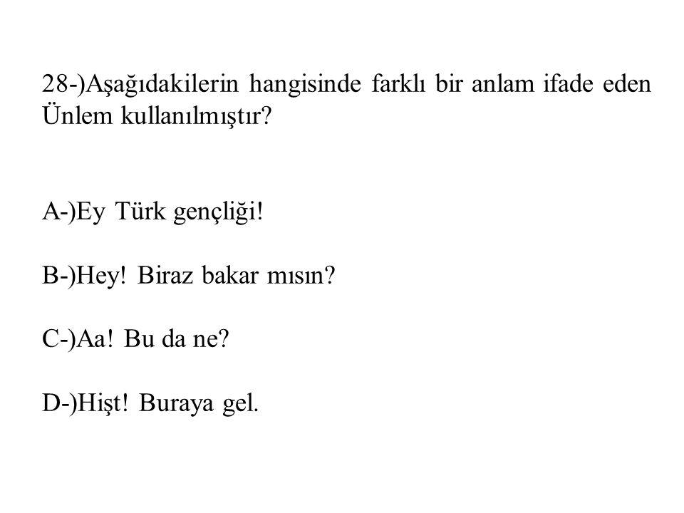 28-)Aşağıdakilerin hangisinde farklı bir anlam ifade eden Ünlem kullanılmıştır? A-)Ey Türk gençliği! B-)Hey! Biraz bakar mısın? C-)Aa! Bu da ne? D-)Hi