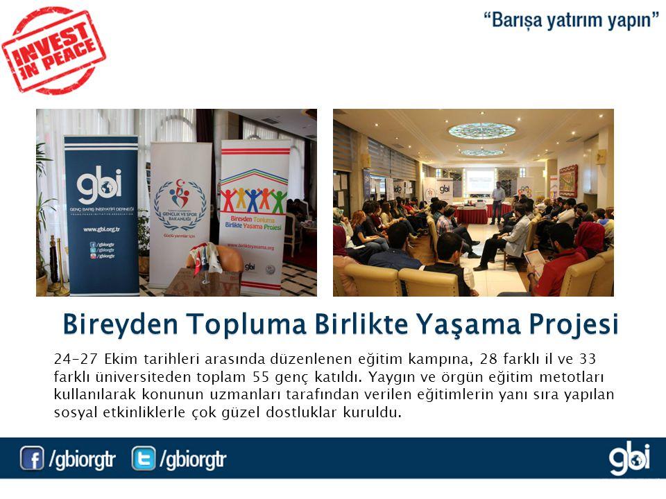 Bireyden Topluma Birlikte Yaşama Projesi 24-27 Ekim tarihleri arasında düzenlenen eğitim kampına, 28 farklı il ve 33 farklı üniversiteden toplam 55 genç katıldı.