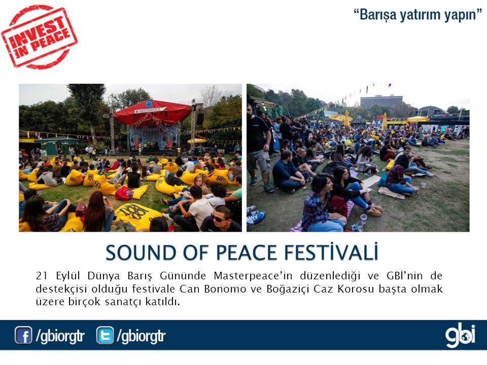 21 Eylül Dünya Barış Gününde Masterpeace'in düzenlediği ve GBİ'nin de destekçisi olduğu festivale Can Bonomo ve Boğaziçi Caz Korosu başta olmak üzere birçok sanatçı katıldı.
