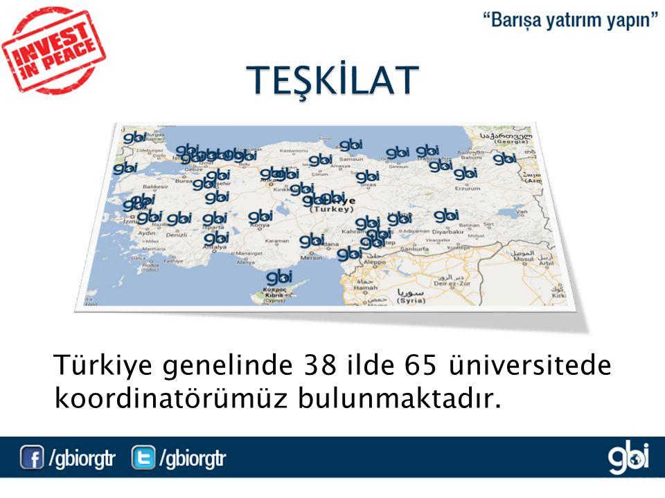 Türkiye genelinde 38 ilde 65 üniversitede koordinatörümüz bulunmaktadır.