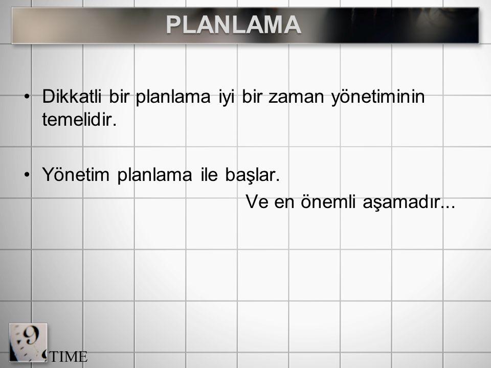 Dikkatli bir planlama iyi bir zaman yönetiminin temelidir.