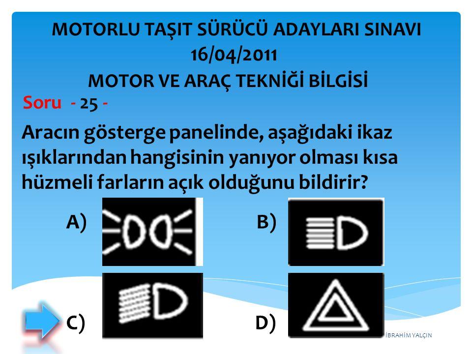 İBRAHİM YALÇIN Aracın gösterge panelinde, aşağıdaki ikaz ışıklarından hangisinin yanıyor olması kısa hüzmeli farların açık olduğunu bildirir? Soru - 2