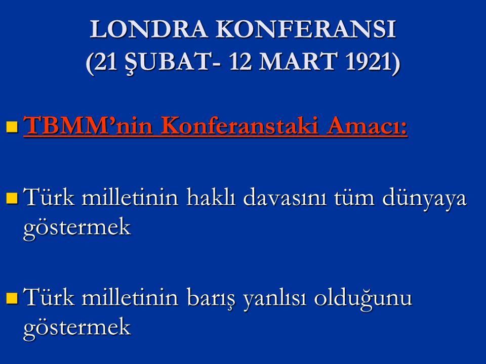 Konferansın Sonuçları : TBMM ilk defa bir konferansta hukuken tanınmıştır TBMM barış yanlısı olduğunu göstermiştir İtilaf Devletleri arasında görüş ayrılıkları ortaya çıktı Yunan ordusu tekrar saldırıya geçti
