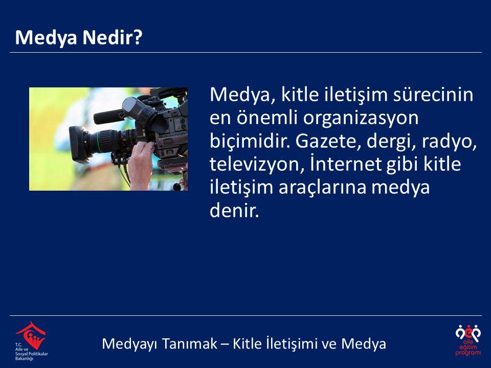 Medya Nedir? Medya, kitle iletişim sürecinin en önemli organizasyon biçimidir. Gazete, dergi, radyo, televizyon, İnternet gibi kitle iletişim araçları