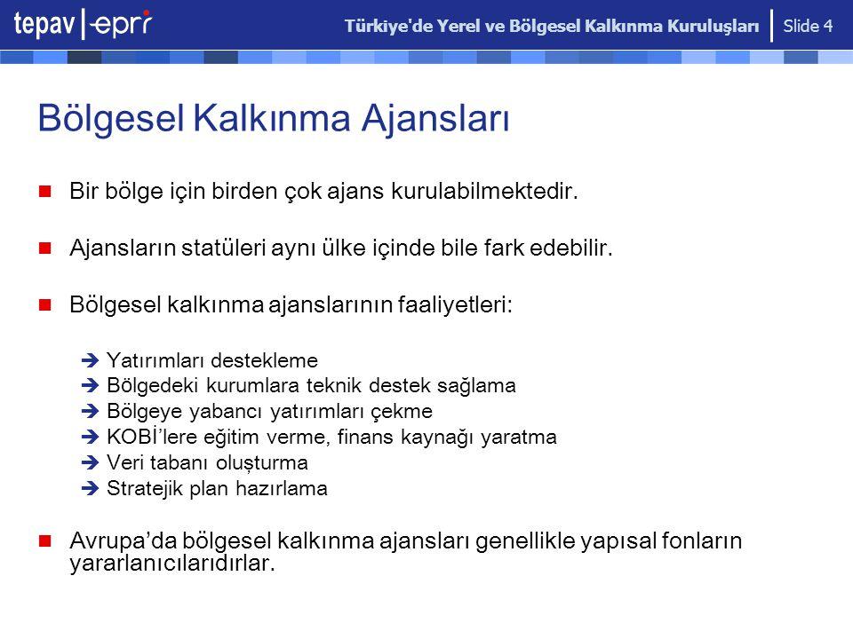 Türkiye'de Yerel ve Bölgesel Kalkınma Kuruluşları Slide 4 Bölgesel Kalkınma Ajansları Bir bölge için birden çok ajans kurulabilmektedir. Ajansların st