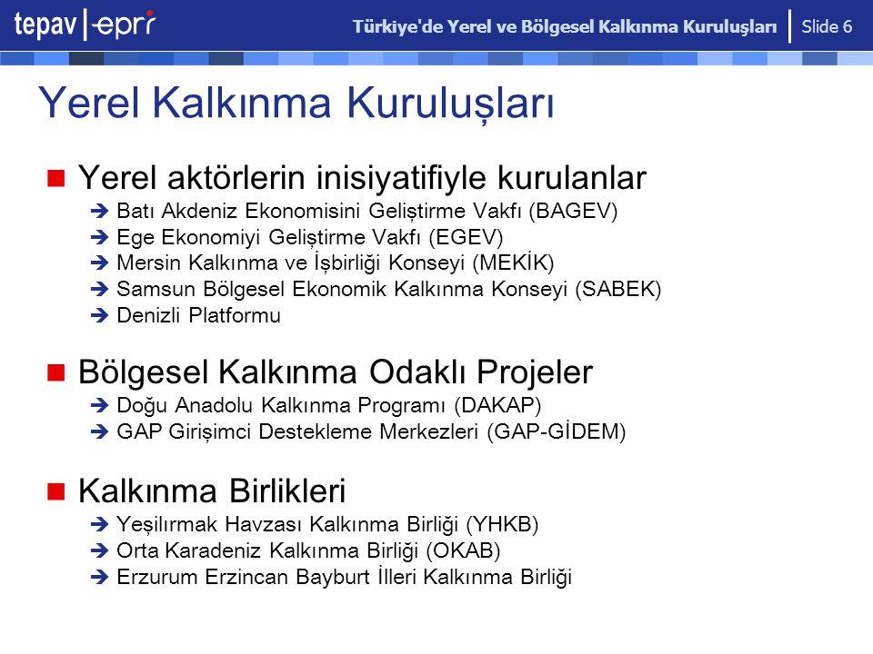 Türkiye'de Yerel ve Bölgesel Kalkınma Kuruluşları Slide 6 Yerel Kalkınma Kuruluşları Yerel aktörlerin inisiyatifiyle kurulanlar  Batı Akdeniz Ekonomi