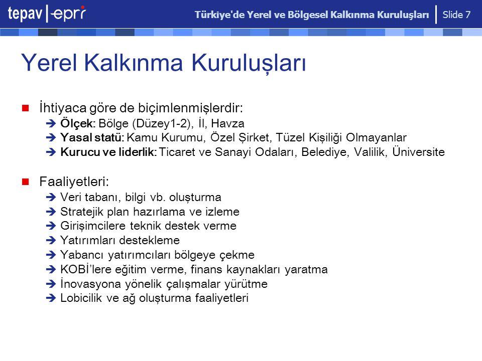 Türkiye'de Yerel ve Bölgesel Kalkınma Kuruluşları Slide 7 İhtiyaca göre de biçimlenmişlerdir:  Ölçek: Bölge (Düzey1-2), İl, Havza  Yasal statü: Kamu